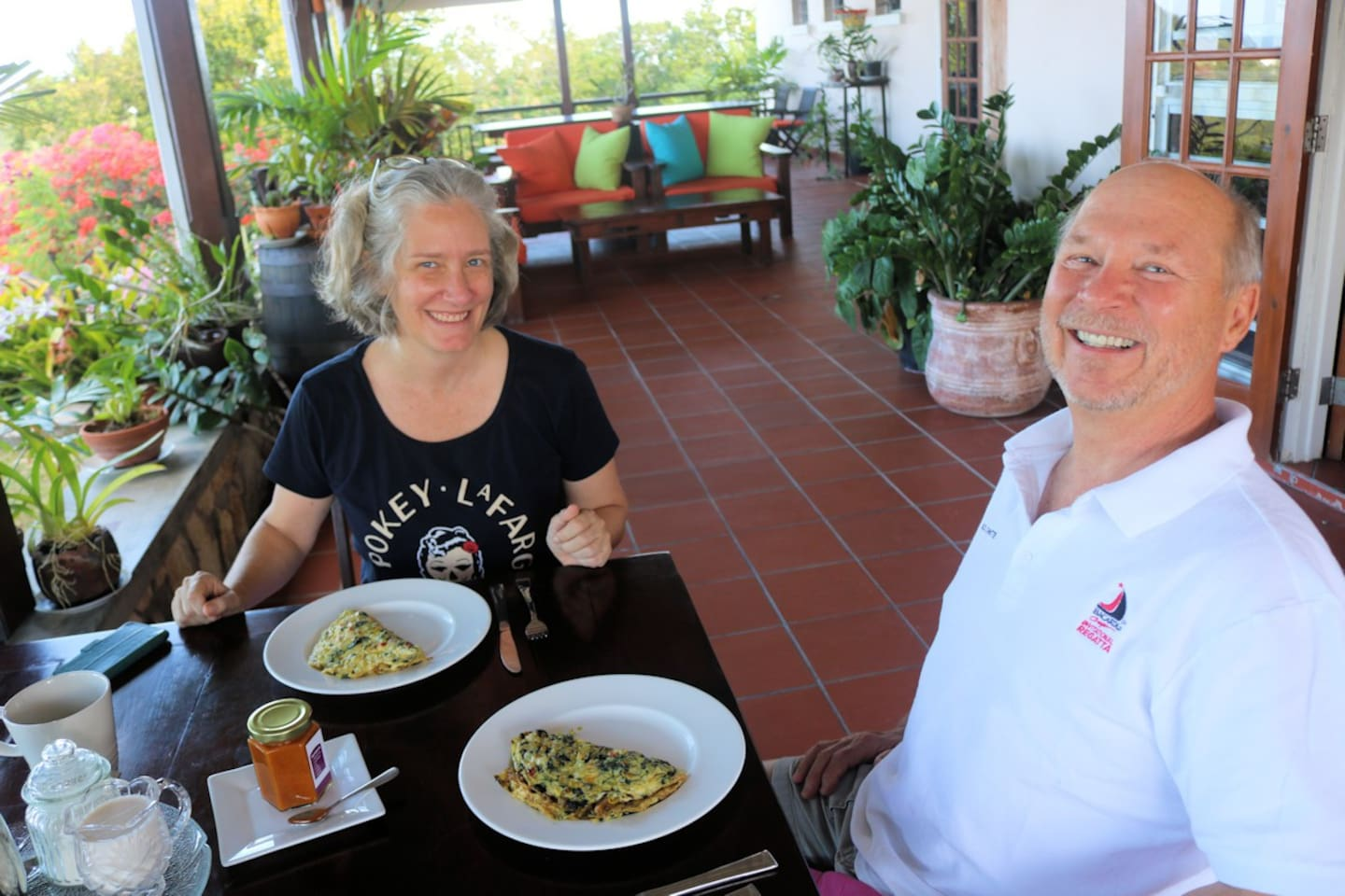John and his better half took advantage of our breakfast selecting homemade omelets flavored with Nicole's Tomato Chutney.