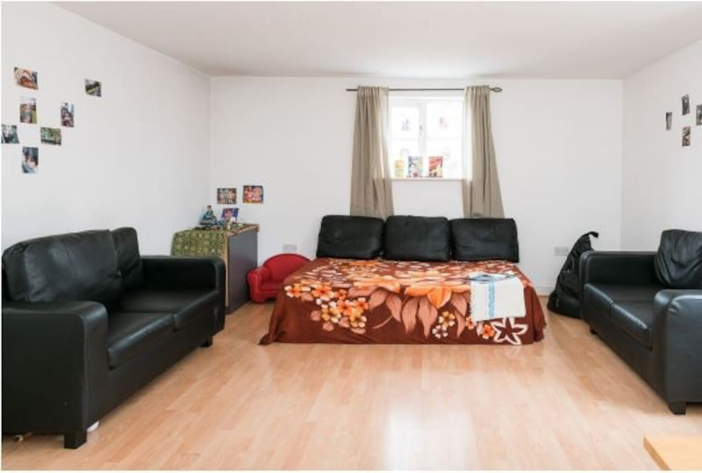 Living area with floor bed