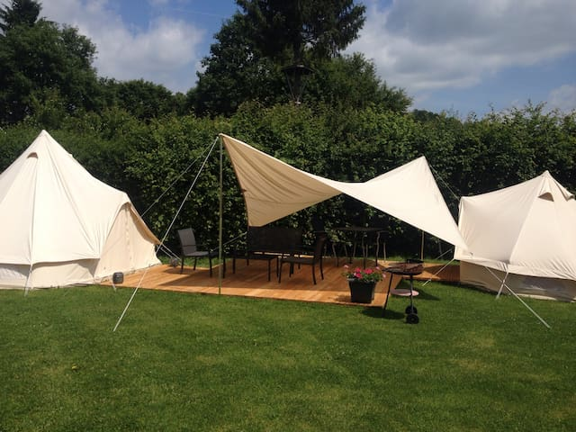 Glamping on top of a hill in the Belgian Ardennes