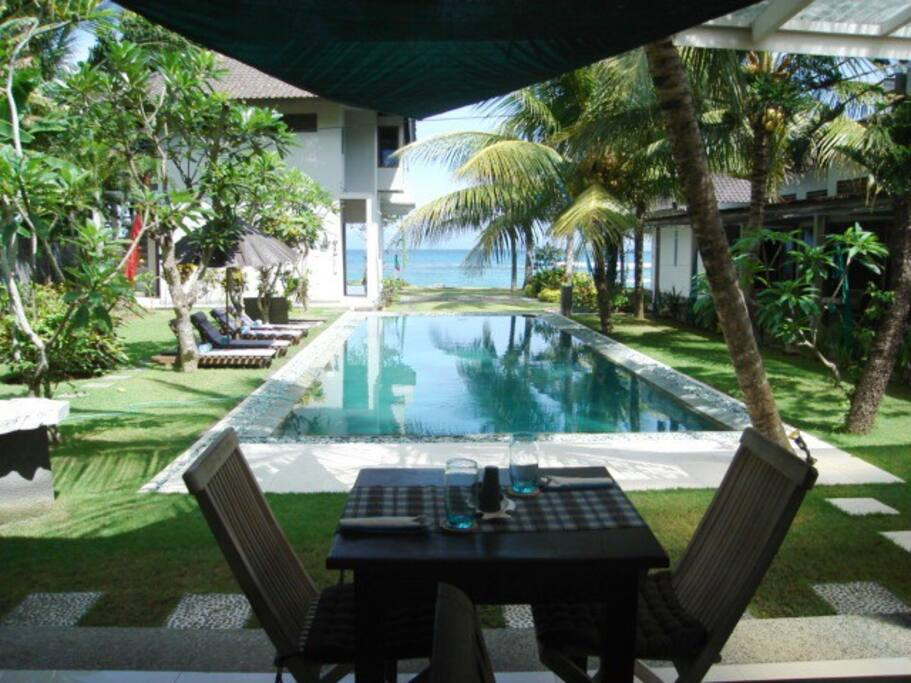 organic restaurant alongside the pool