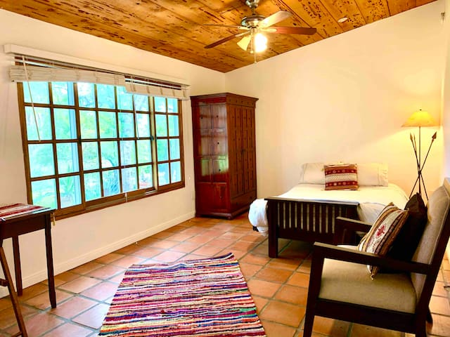 No kitchen, room only, organic acre sanctuary.