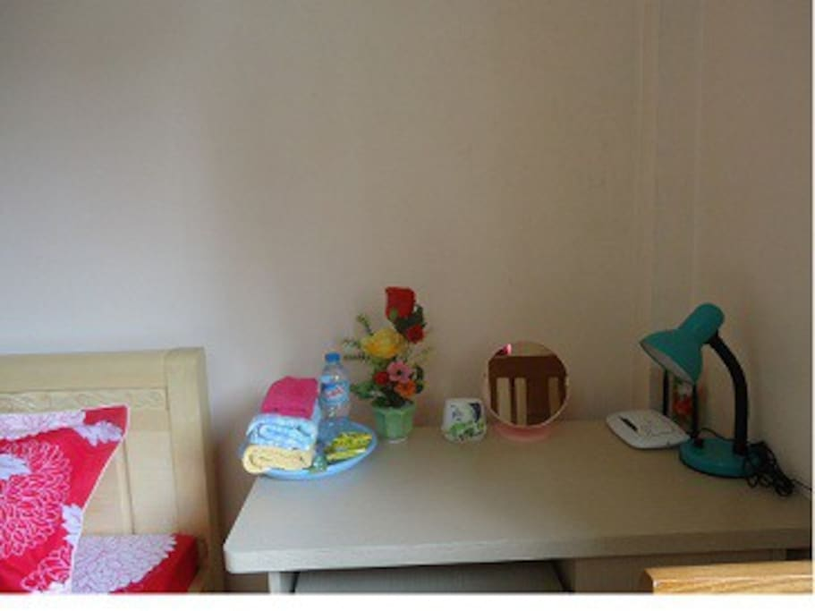 Tables, chair, wifi, table lamps, towels,bath towels, mirors are new, pens, mineral water and cake to guests(room 3)