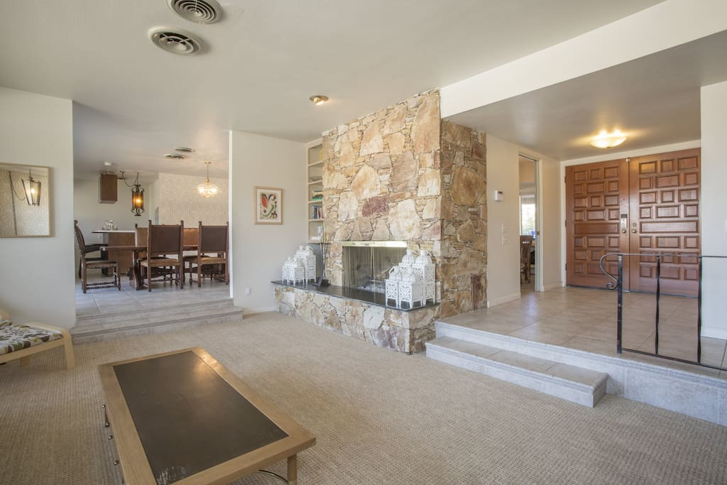 Family and fireplace with retro look and feel