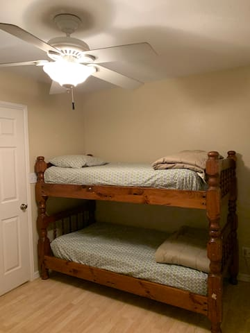 Twin bunk beds in the second bedroom.
