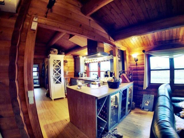 køkken med komfur, køle/frys og opvaskemaskine