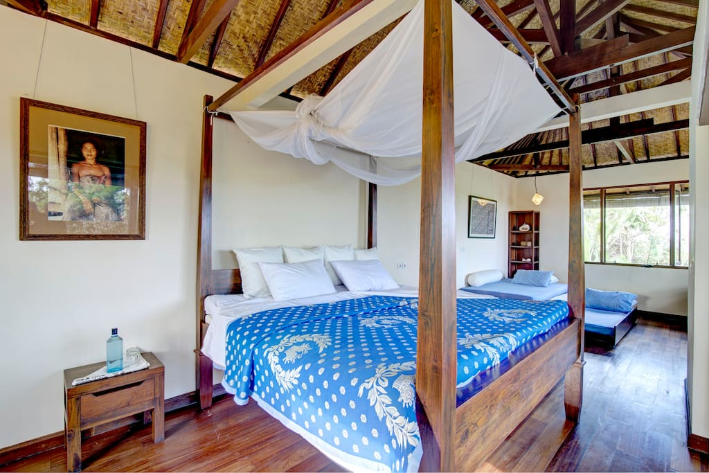 The master bed room upstairs after turn-down service