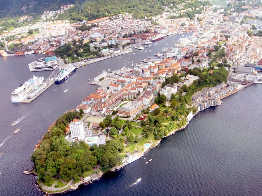 Nordnes is the most charming part of Bergen. A beautiful peaceful peninsula, but still very close to the city center ca 7 min. Famous for its historic old wooden houses and narrow cobblestone streets.  With a big park, cozy cafes and lots of culture