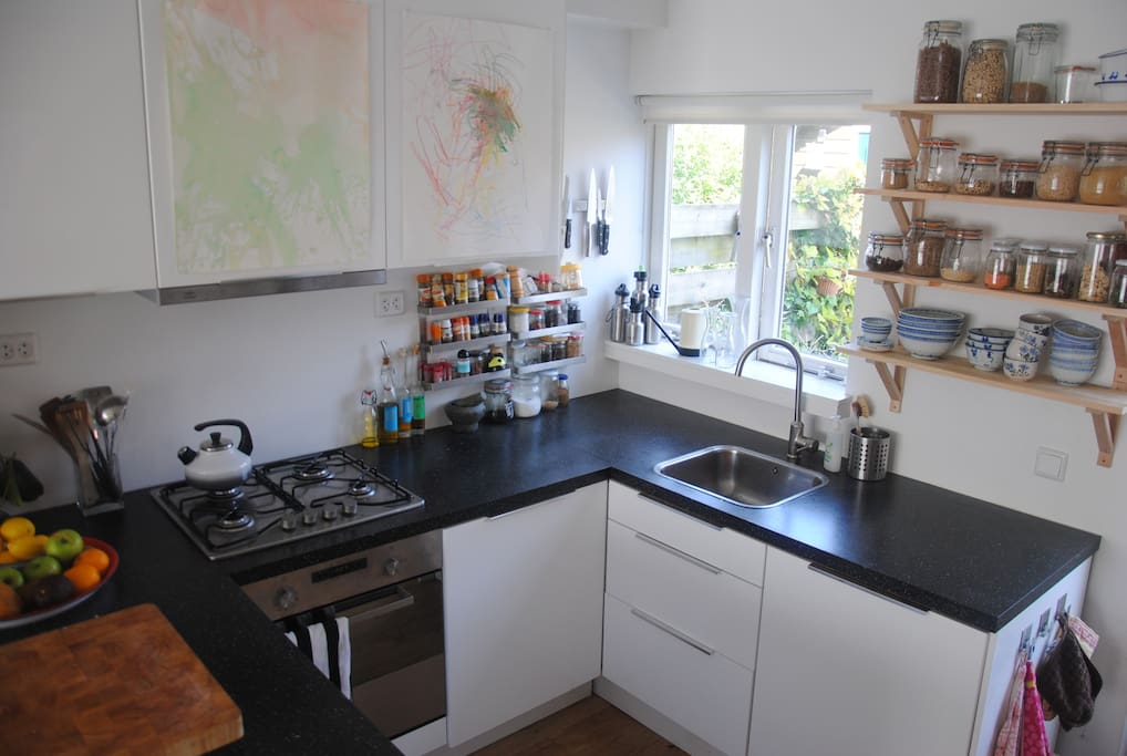 Nice open kitchen with all you need including a dishwasher