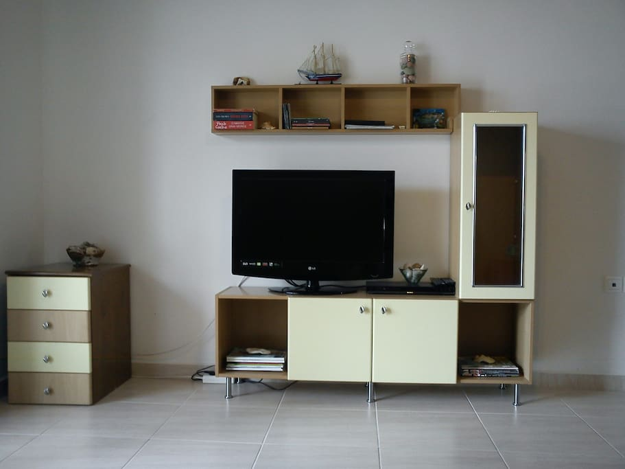 living room, TV and DVD player