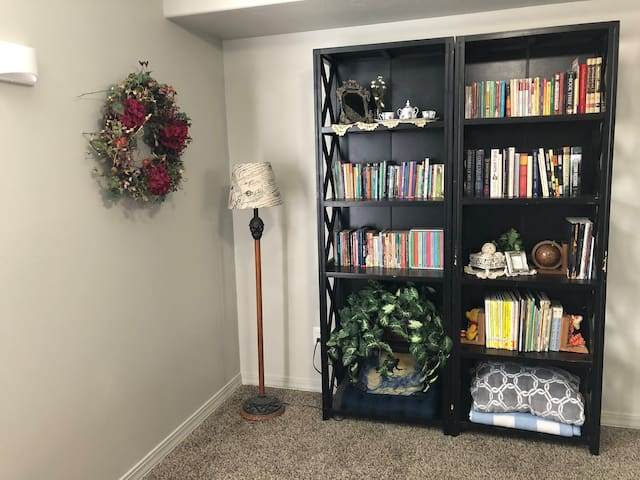 Reading corner with many kinds of books