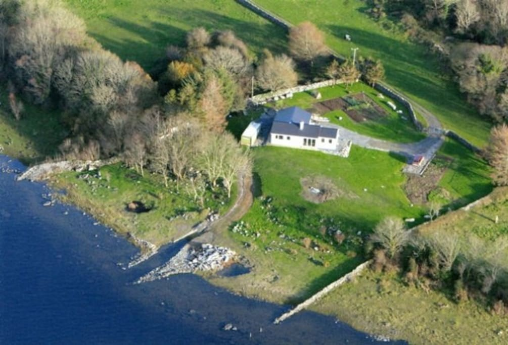 Off the beaten track......A birds eye view of the fishing Lodge.