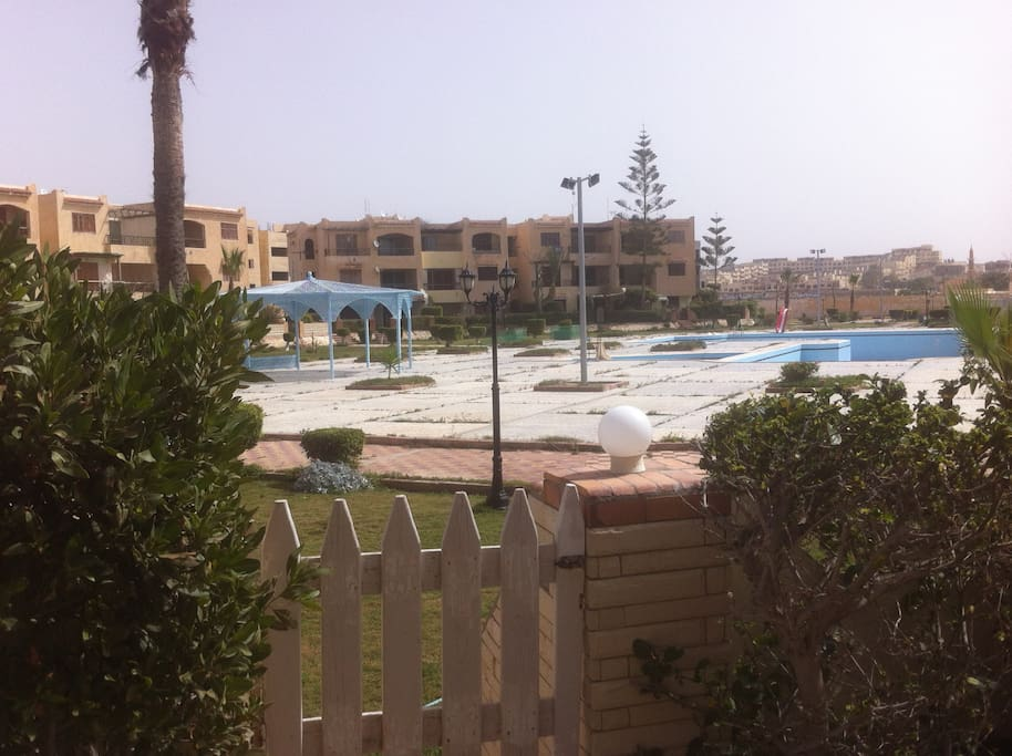 Swimming Pool seen from private garden.