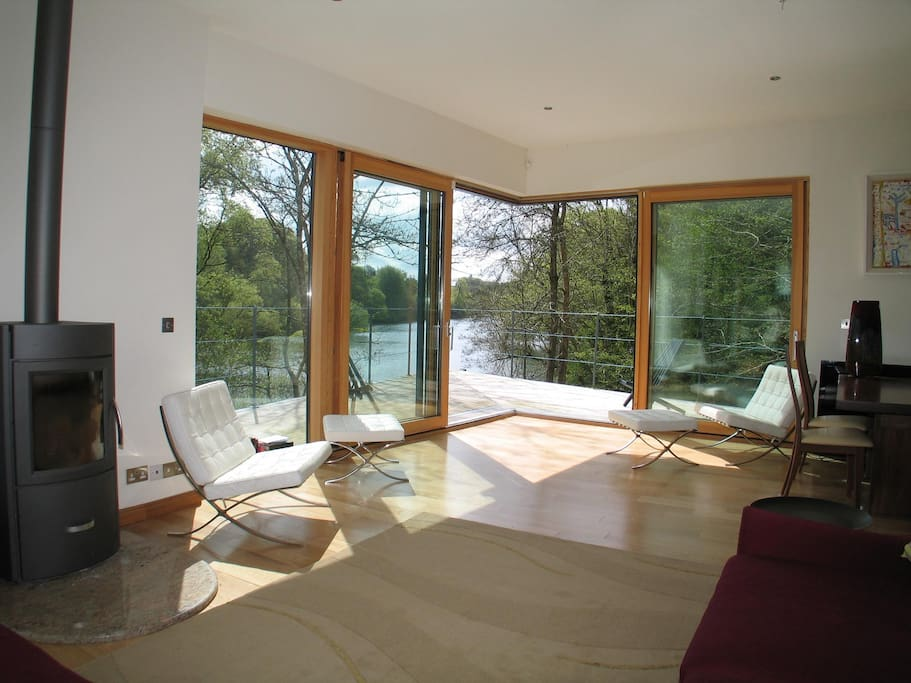 View from the open plan living/dining/kitchen onto the deck and river beyond...
