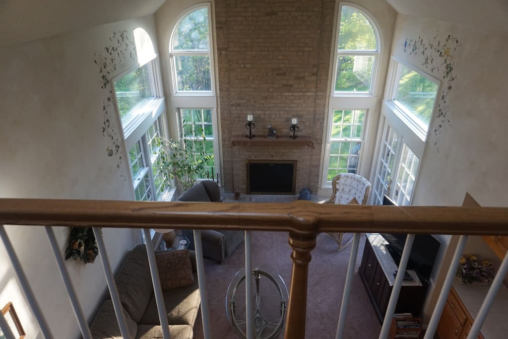 Overlooking the family room from the second floor.