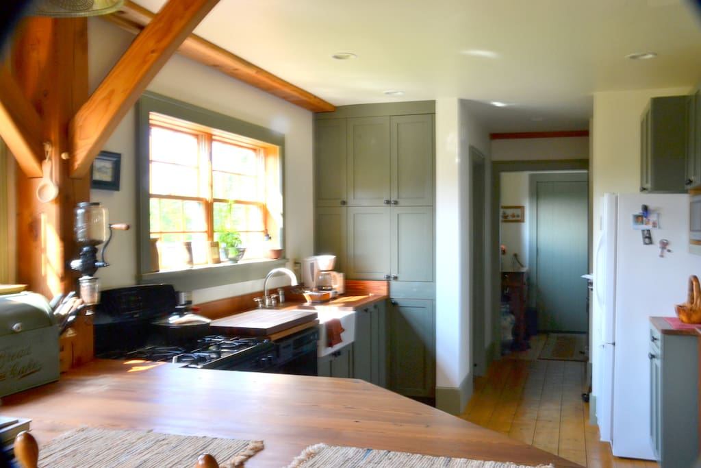 Kitchen looking towards entry with beautiful view