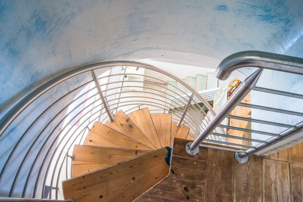 Our spiral staircase leading to the two double bedrooms