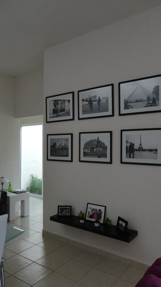 the wall of pictures,dinnigroom