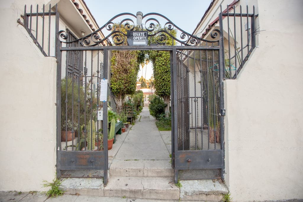 Private Courtyard Entrance just steps away from Sunset Blvd.