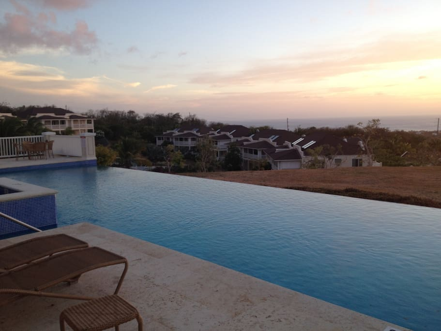 Club House pool at sunset