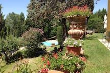 giardino con vista piscina