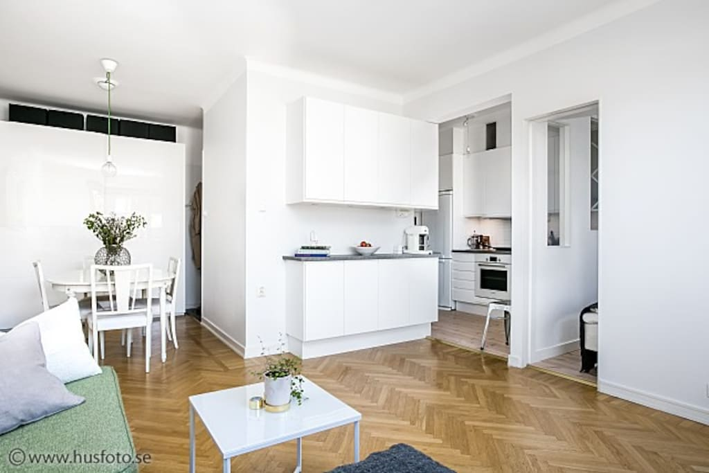 OPEN KITCHEN TO the living room gives the flat a spacious feel.