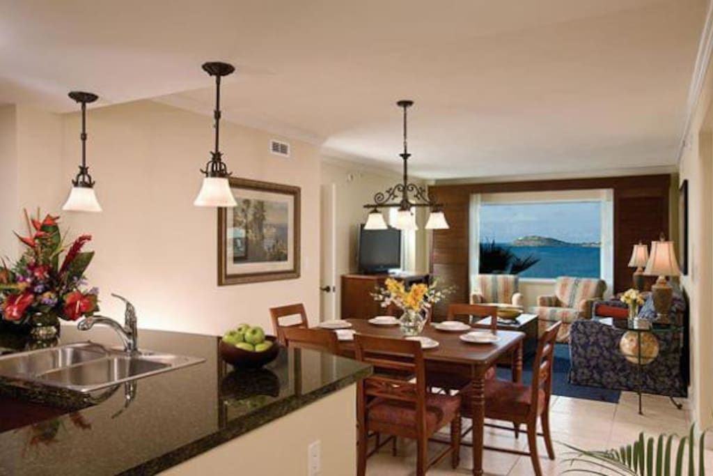 View of living and dining areas from kitchen.