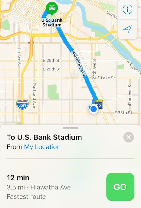 12 minute by car to US Bank Stadium/22 minutes by train.