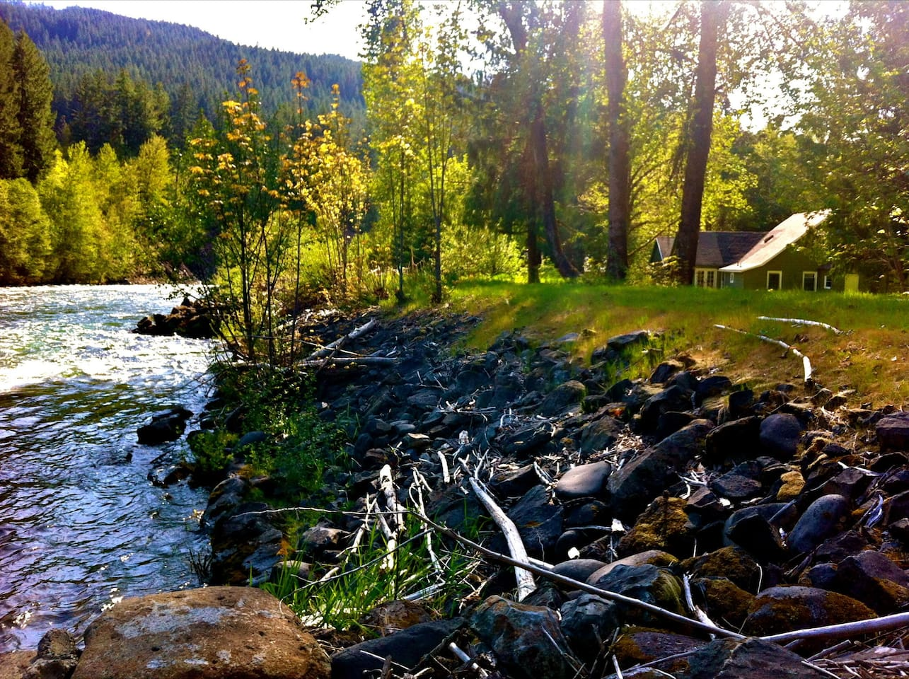 Enjoy 3 private acres on the wild and scenic Santiam River.