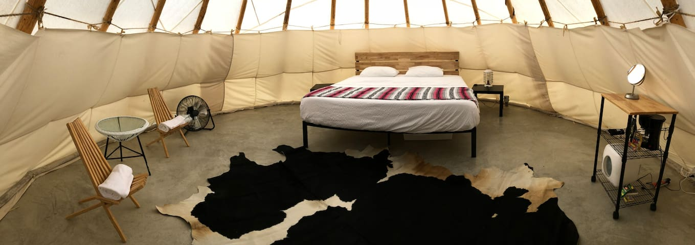 King bed, two-night stands, cowhide rug, lamp, seating area, coffee prep cart