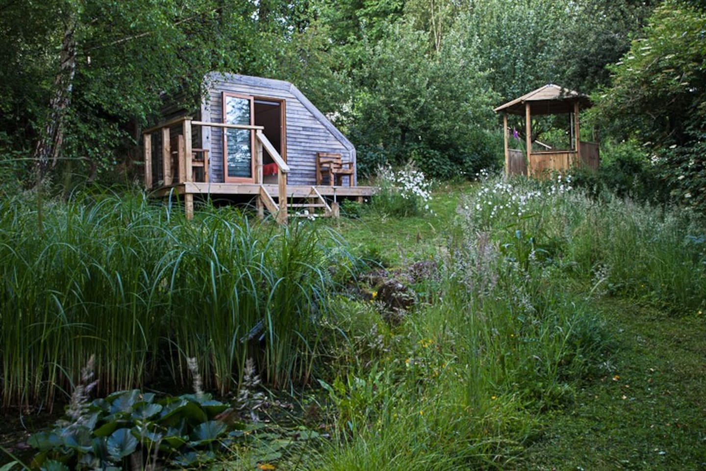 View from the wildlife pond to the Pod and gazebo.
