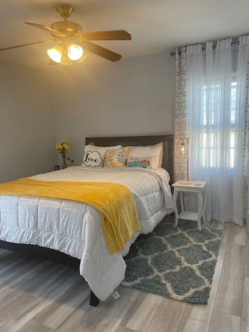 The bedroom has a Queen Sized mattress and the air mattress is inside the walk-in closet. Bedding and towels/pillows /blankets are in the closet.