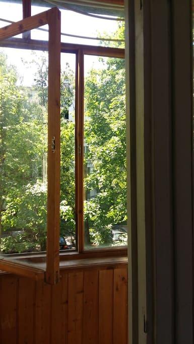 Застекленный балкон открывает вид на  вишневый сад
