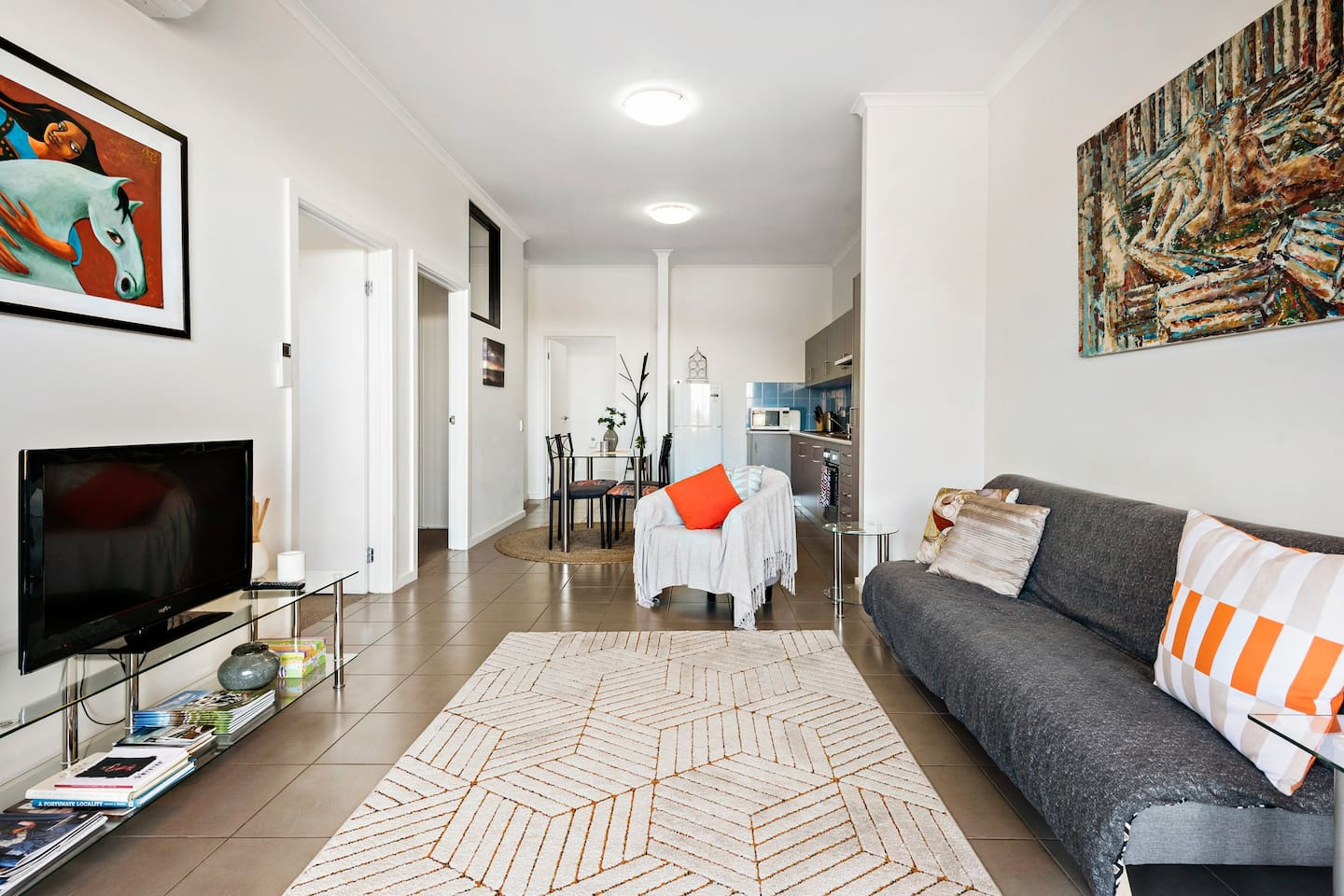 """Open plan modern Kitchen and Living, two separate bedrooms & extra sofa bed. """"The apartment is amazing, really spacious, homely. The main room is a great size, & bed was super comfy. 100% great value for money. We'd definitely stay again """"Nicole*****"""