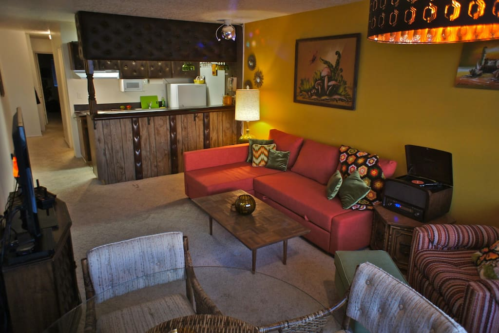 Everything about this condo is funky and retro.