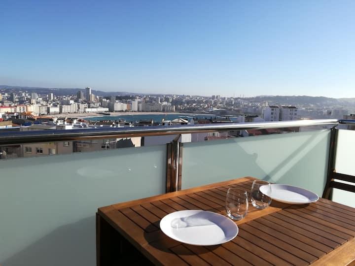 Mejores vistas y terraza de Coruña.Céntrico.WIFI