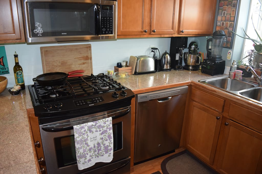 Gas range and oven, microwave, toaster, electric kettle, Sodastream, Kitchenade, and Vitamix