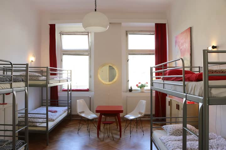Red room is 6-bed female dormitory