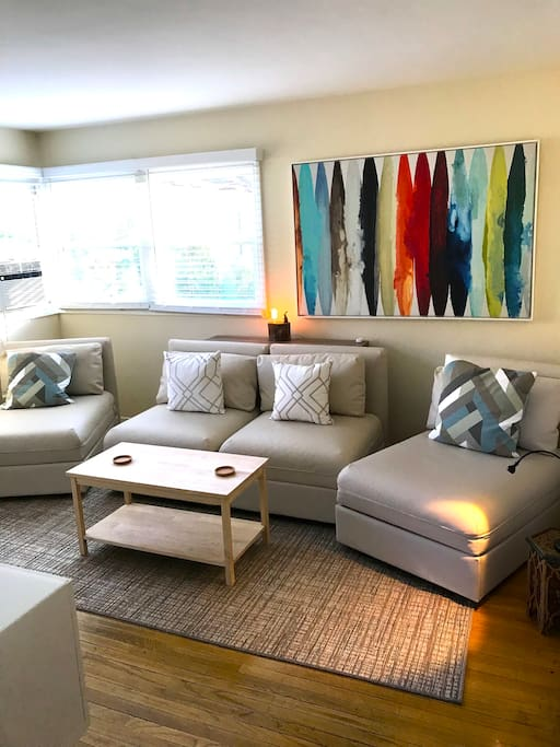 Bright and airy room to kick back or watch tv