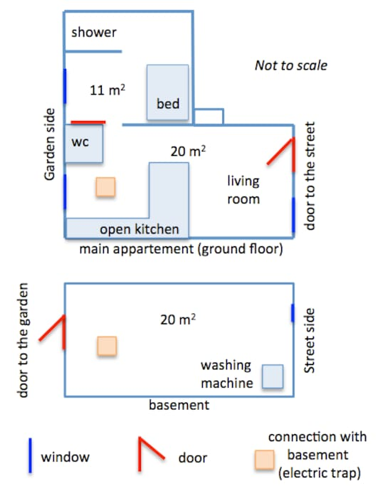 Map of the apartment with the 2 levels (upper level on top); plan de l'appartement avec les deux niveaux, le niveau supérieur est en haut