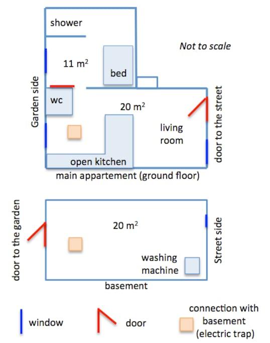 Map of the apartment with the 2 levels (upper level on top); plan de l'appartement avec les deux niveaux, le niveau supérieur est en haut
