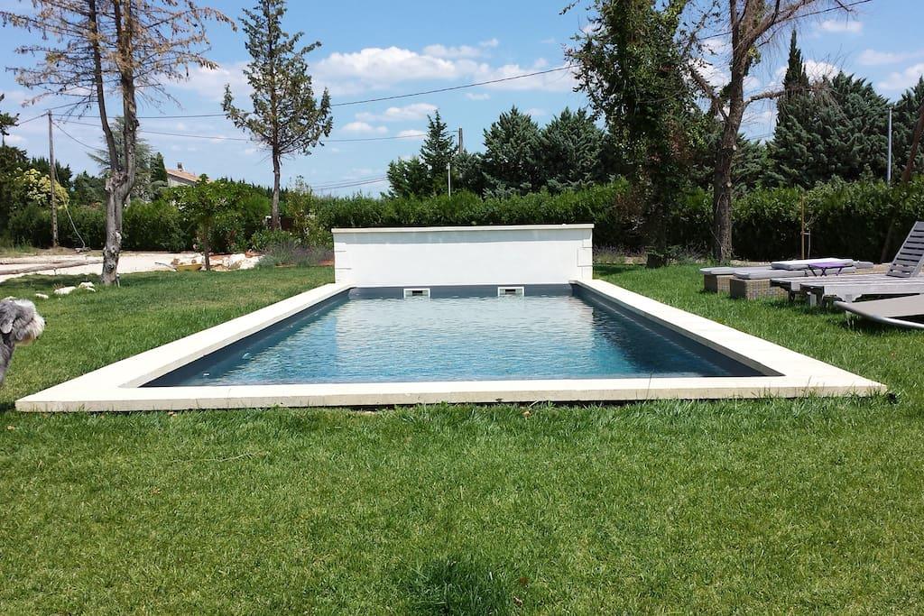 Terrain entièrement Clos et Arboré de 4500 m3 Avec piscine , canapé , bains de soleil , hamac , terrain de pétanque , ping pong ...