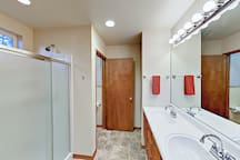Enjoy a double vanity, walk-in shower, and separate water closet in the 2nd-floor bathroom.