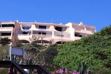 view from the beach. the apartment is the 2nd balkony on the top floor from the left