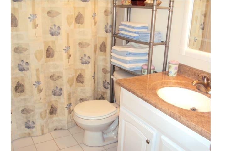 Full bathroom with shower & tub on 2nd floor.