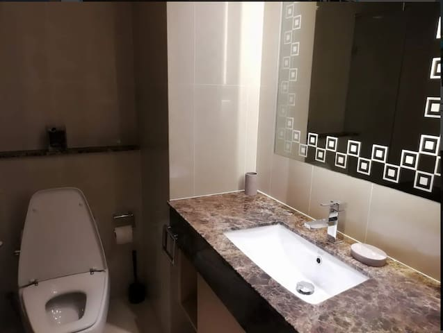 clean and well lit bathroom