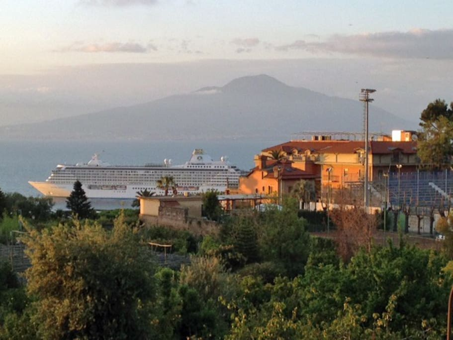 Sea view and Mount Vesuvius from the balcony.
