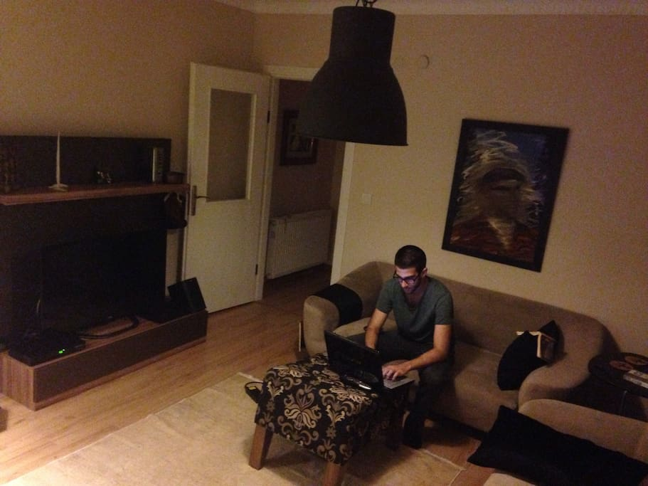 Living room with PS3 and led TV. Sofas are quite comfy, for those who'd like to watch stuff before hitting the sack.