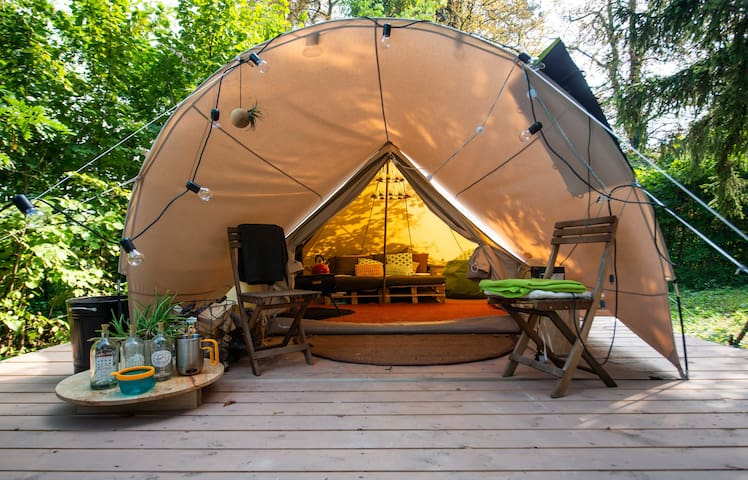 The bell tent on it's wooden deck