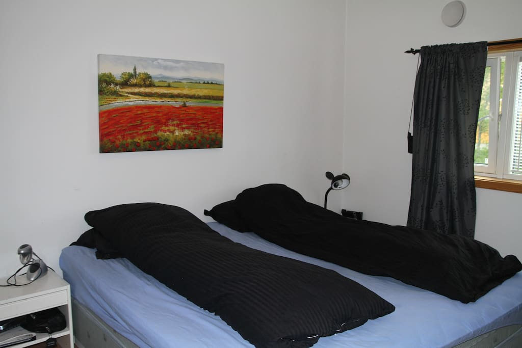Master bedroom with comfortable double bed.