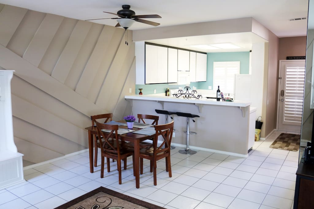 Our fully appointed kitchen features a gas-burning stove for those that like to cook. Oven, microwave, toaster, toaster oven, blender, coffee press, and filtered water built into fridge. All surfaces are tile, making clean-up a breeze.